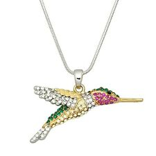 """Hummingbird Charm Pendant Fashionable Necklace - Sparkling Crystal - 17"""" Chain"""