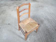 ART POPULAIRE Petite chaise de ferme en bois - assise paillée - Déco Campagne