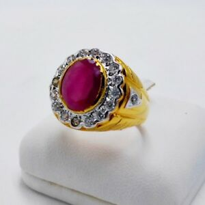 MEN RING RED SIAM RUBY 24K YELLOW GOLD FILLED GP SOLITAIRE ESTATE DRESS SIZE 7.5