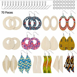 DIY Unfinished Blank Wooden Earrings Dangle Pendant with Earring Hooks&Jump Ring