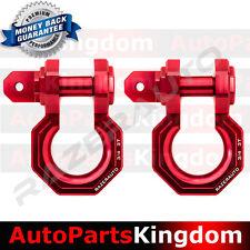 "1 Pair 3/4"" RED 3.0 Ton Aluminum D-Ring Bow Shackle Heavy Duty Off road ATV RV"