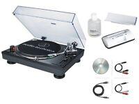 Audio-Technica AT-LP120USB Direct Drive DJ Turntable USB Output (Black) + Kit