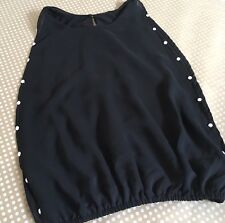 Flowers By Zoe Girls Sheer Shirt Top Black White Side Studs Size Small