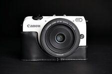 Genuine real Leather Half Camera Case Camera bag cover for CANON EOS-M2 Black