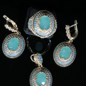 925 Sterling Silver Handmade Antique Turkish Aqua Marine Ladies Set