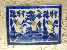 WHITE & BLUE WILLOW TRADITIONAL TRIPLE SWITCH COVER