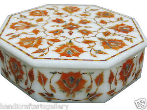 """6""""x6""""x1.5"""" Marble Jewelry Box Cabinet Hakik Floral Inlay Collectible Art H1877"""