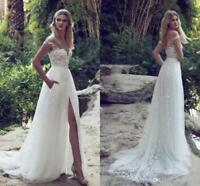 White/Ivory Lace Wedding Dress A-line Beach Bridal Gown Side Slit Custom Made