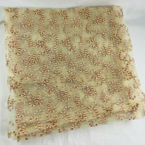 Vintage Handmade Mesh Tulle Candy Cane Rectangle Table Cloth Gold Thread