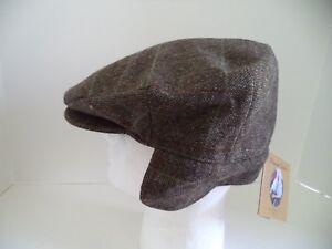New Hanna Hat 3XL Irish tweed flat cap ear neck flap brown green 8 1/4 warm wool