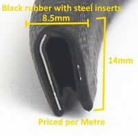 Standard mid grey rubber car edge protective trim 14mm x 8.5mm