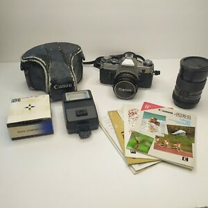 Canon AE-1 Program 35mm Film Manual Camera w/ 50mm F1.8 Lens And Extras
