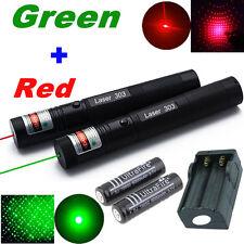 10 Milles Puissant Vert + Rouge 1mW Pointeur Laser Stylo Lumineux Poutre Visible