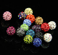 10Pcs Charm Crystal Rhinestones Pave Clay Round Disco Ball Spacer Beads DIY 10mm