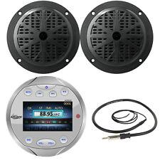 """5.25"""" Black Marine Speakers, Lanzar Bluetooth Round AM FM Silver Radio & Antenna"""