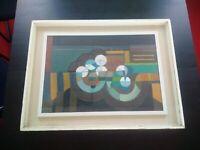 Rare grande huile sur toile tableau abstrait composition géometrique signé