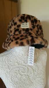 Urban Outfitters Leopard Print Faux Fur Bucket/Session Hat New Tag Logo