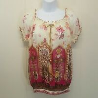 Vanity SMALL Shirt Top Blouse Sheer Pink Cream Floral Feather Accent Blouson