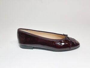 Classic Chanel Patent Leather Ballet Flats Cap Toe CC Logo 36