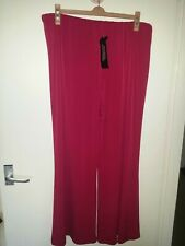Joanna Hope Raspberry Slinky Wide Leg Stretchy Trousers Size 20 L31