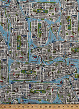 Cotton New York City Map NYC Streets Parks Fabric Print by the Yard D578.30