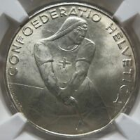 SWITZERLAND 5 Franken Francs 1939 B LAUPEN NGC MS 65 UNC