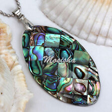 1X Natural Abalone Paua Shell Beads Horse Eye Jewelry Pendant fit Necklace Gift