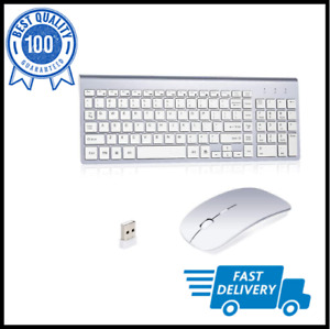 Wireless Keyboard And Mouse Combo Set 2.4G For Apple i And PC Full Size Slim