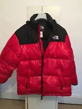 Red Black Duck Down Coat similaire à la face nord 90 S XXL XL brillant 90 S Vintage Look