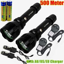 2PCS 500 METER 1000 LUMEN TACTICAL CREE LED RECHARGABLE FLASHLIGHT TORCH C6 AU