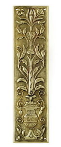 "Solid Brass Flowers Fingerplate – antique period door finger push plate 11""/27cm"