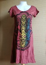New Babu Yoga Mini Dress  Buddha Hand Third Eyes OM AUM Hippie Boho Free Size