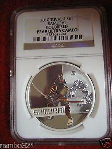 2010 Tuvalu Samurai Great Warriors PR PF 69 NGC .999 1 oz Silver Coin low&toppop