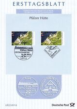 BRD 2012: Pfälzer Hütte Ersttagsblatt der Nr. 2940! Plus Parallelausgabe! 1709