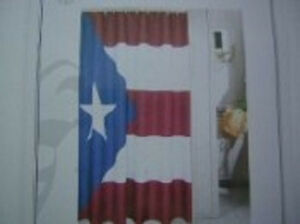 Puerto Rico Flag Shower Curtain 70x72 Polyester Bathroom Set with Hooks
