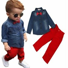 Kids Boys Bow Tie Denim Shirts Top + Jeans Pants Party Casual Summer Outfit Sets