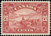 Mint H Canada 20c 1929 F+ Scott #157 King George V Scroll Stamp