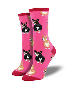 Corgi Butt Dog Socks - Hot Pink SockSmith Cotton Womens