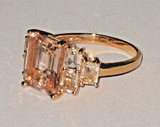 *WOW! SALE* 10K ROSE GOLD 4.50CTW EMERALD CUT PEACHY PINK MORGANITE RING 3.9 GRM