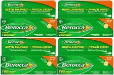 4 Pack Berocca Effervescent Tablets, Orange, 10 Count Each