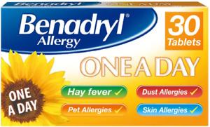 Benadryl Allergy One a Day Hayfever Cat Dog Dust Allergy - 30 Tablets