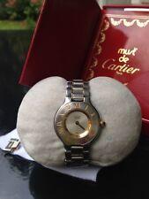 Must de Cartier Montres 21 Damenuhr in Box mit Papieren - Stahlarmband bicolor
