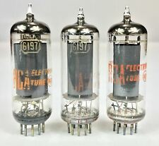"""RCA 6CL6 / 6197 Grey Plate """"O"""" Getter Vacuum Tubes Closely Matched Set of Three"""