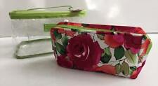 Makeup Case Bag Clear & Colorful Set of 2 Travel Gift Mom Daughter Storage Flora