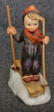 CHARMING HUMMEL SKIER 59 TMK 3 WITH WOODEN POLES