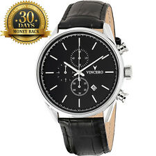 New Vincero Watch Chronograph Black Leather Strap 12 Hour Dial Men's Wrist Watch