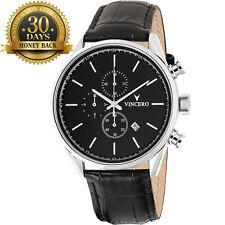 New Vincero Watch Chronograph Black Leather Strap 12 Hour Dial Men's Wrist Watch