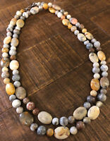 "JAY KING Yellow Crazy Lace Agate 44"" Necklace, Sterling Silver"