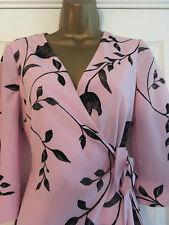 NEXT Pink Black Floral Wrap Knee Length Dress 3/4 Sleeves Size 10 Petite