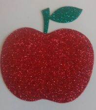 Hotfix iron-on transfer 10cm glitter red apple with green stalk